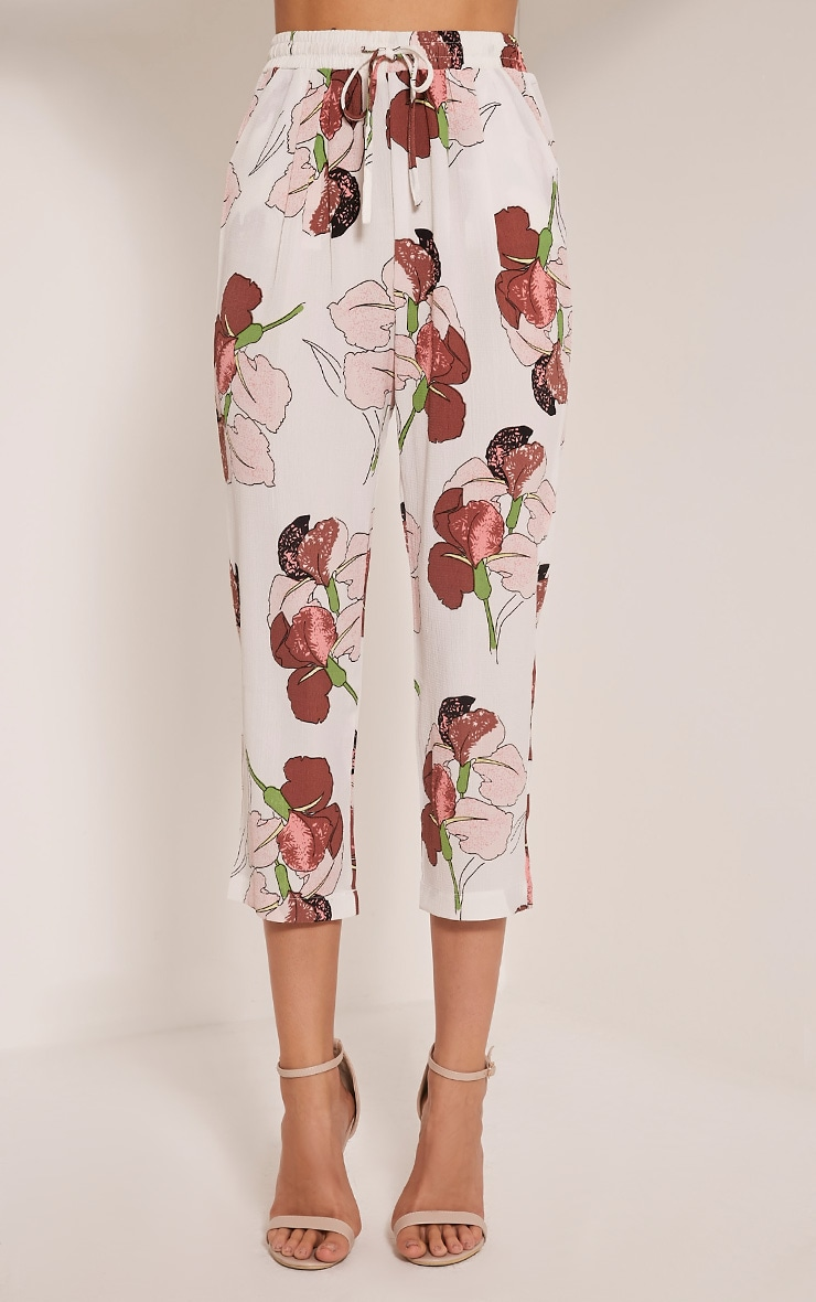 Diya Pink Orchid Print Cropped Trousers 2