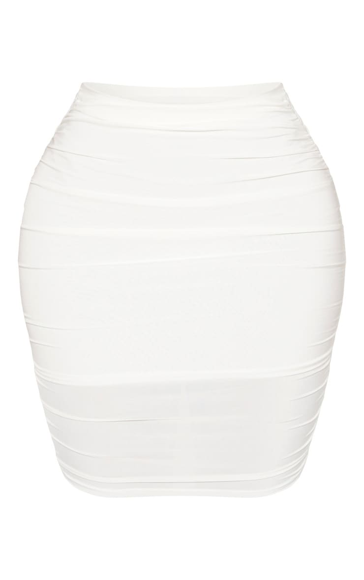 Shape Cream Ruched Bodycon Skirt 3