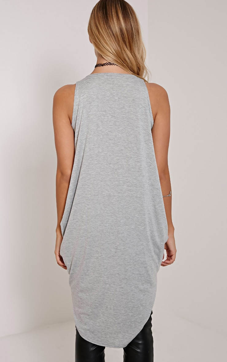 Brea Grey Long Twist Front Sleeveless Top 2