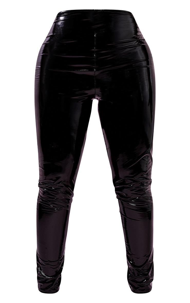Shape Black Vinyl Thong Back Leggings 5