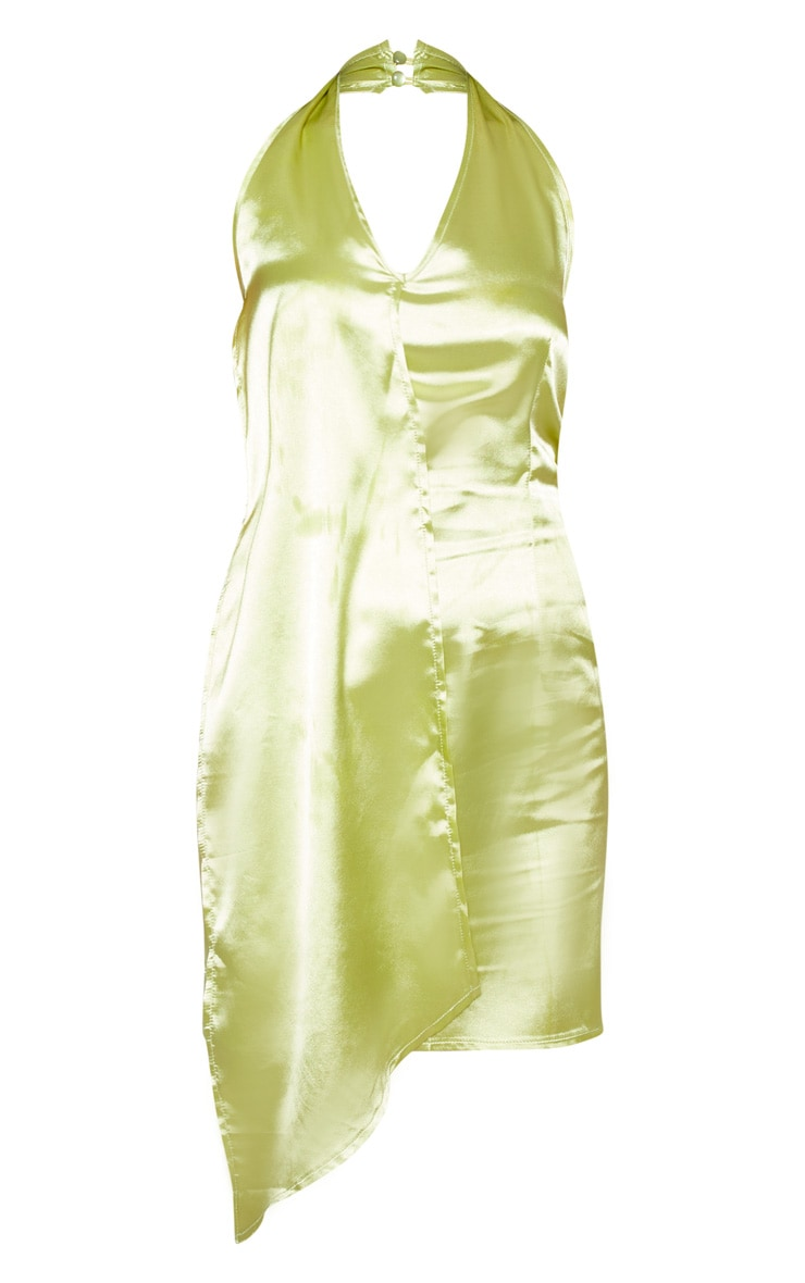 Chartreuse Halterneck Swing Dress 3