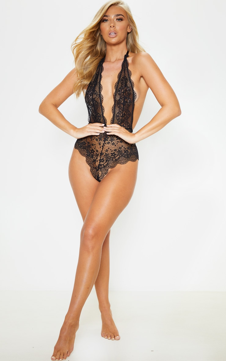 Black Plunge Delicate Daisy Lace Body 5