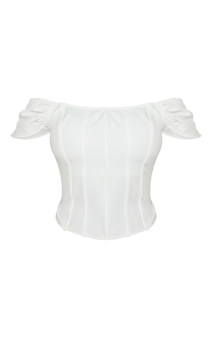 Plus White Bardot Seam Detail Corset 5