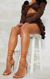 Camel PU Round Toe Barely There Strappy Heeled Sandals 1