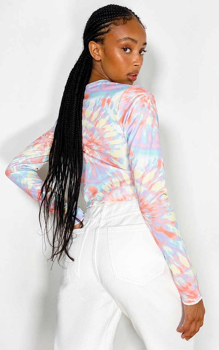 Multi Rib Tie Dye Long Sleeve Crop Top 2