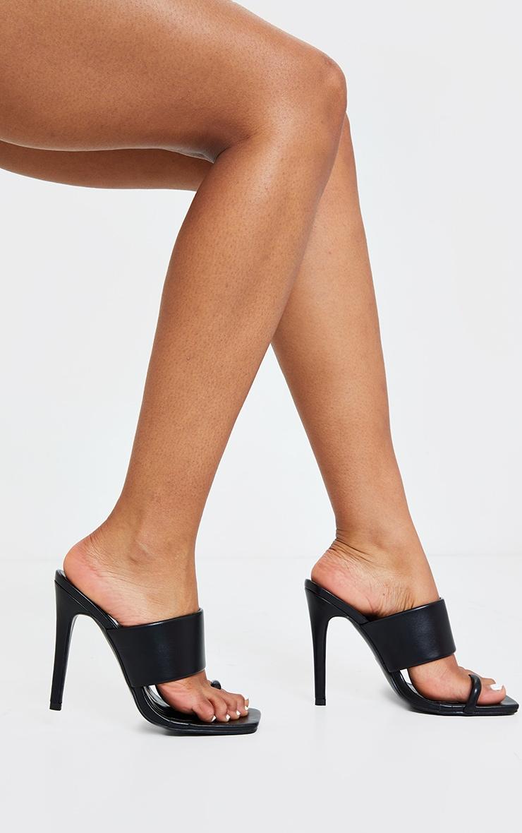 Black Square Toe Loop High Mule Heels 3