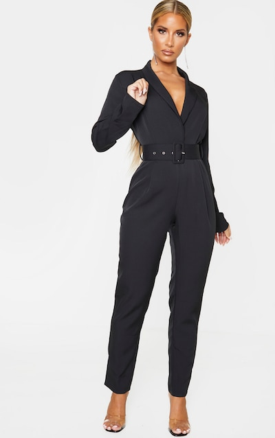 Black Lapel Detail Belted Jumpsuit