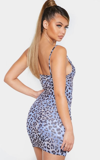 Lilac Strappy Leopard Print Bodycon Dress