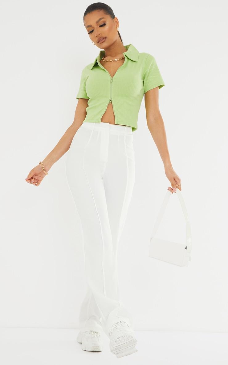 Lime Short Sleeve Jumbo Rib Polo Collar Double Zip Top 3