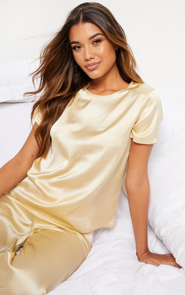 Champagne Basic Satin Pyjama Top 1