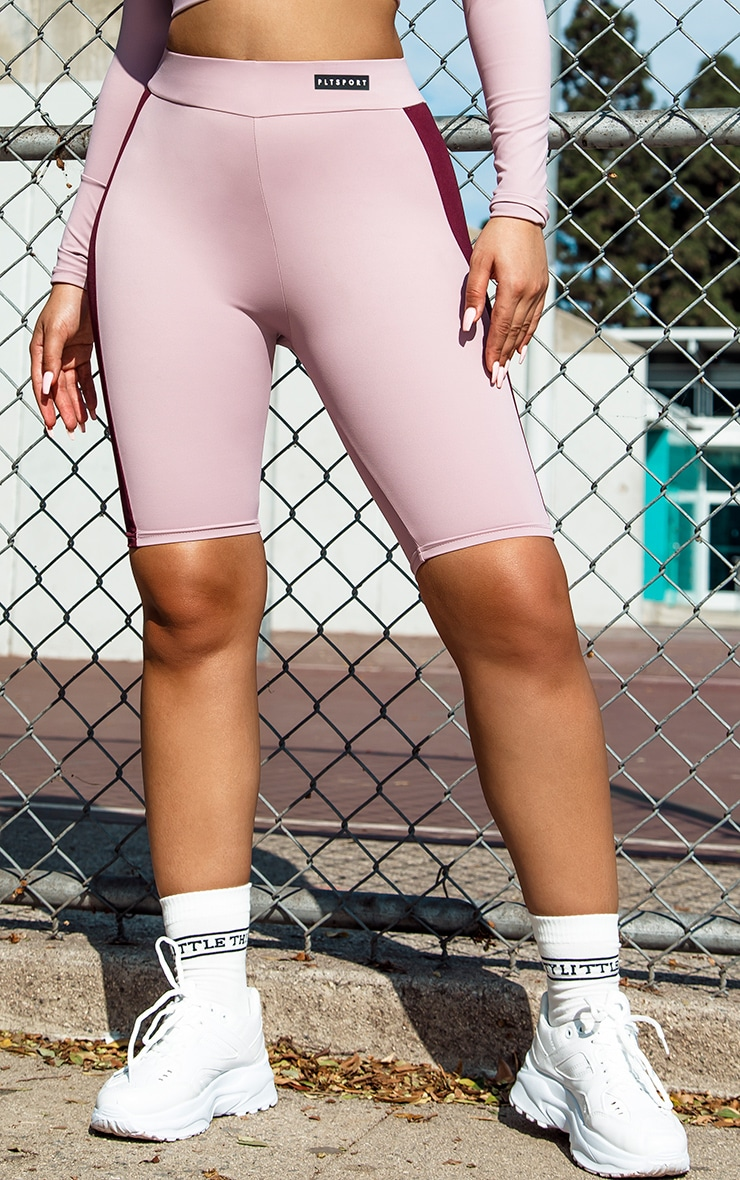 PRETTYLITTLETHING Lilac Sport Colour Block Cycle Short 2