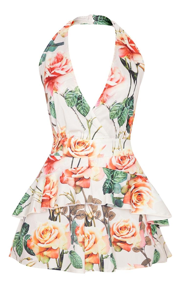 Nude Floral Print Halterneck Playsuit 5