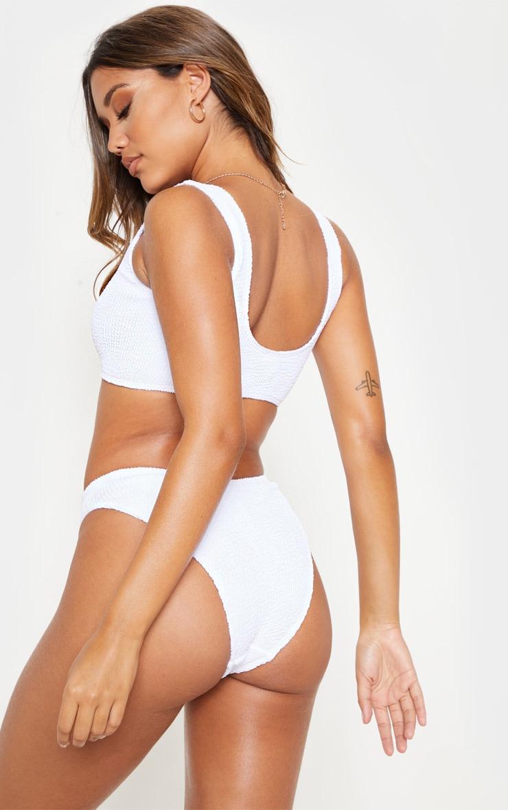 White Crinkle Deep Scoop Bikini Top 2