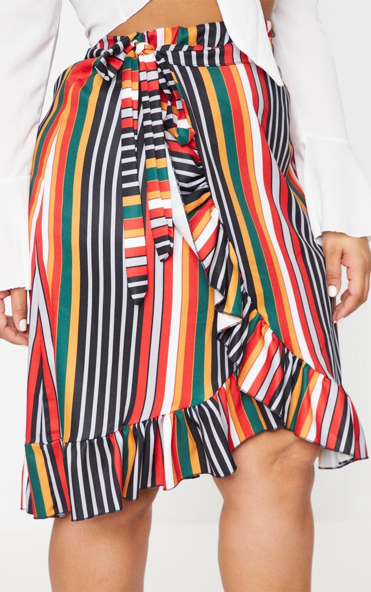 Plus Multi Striped Wrap Midi Skirt 5
