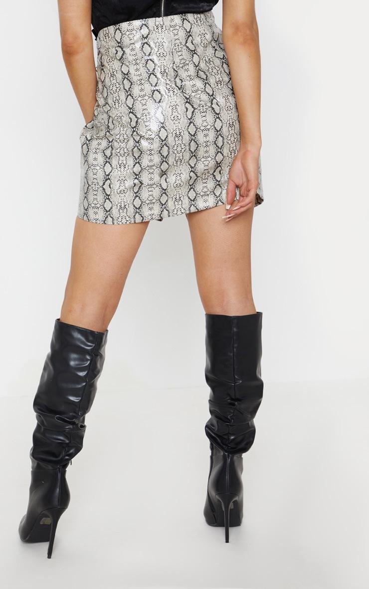 Cream Faux Leather Snakeskin Buckle Detail Mini Skirt 4