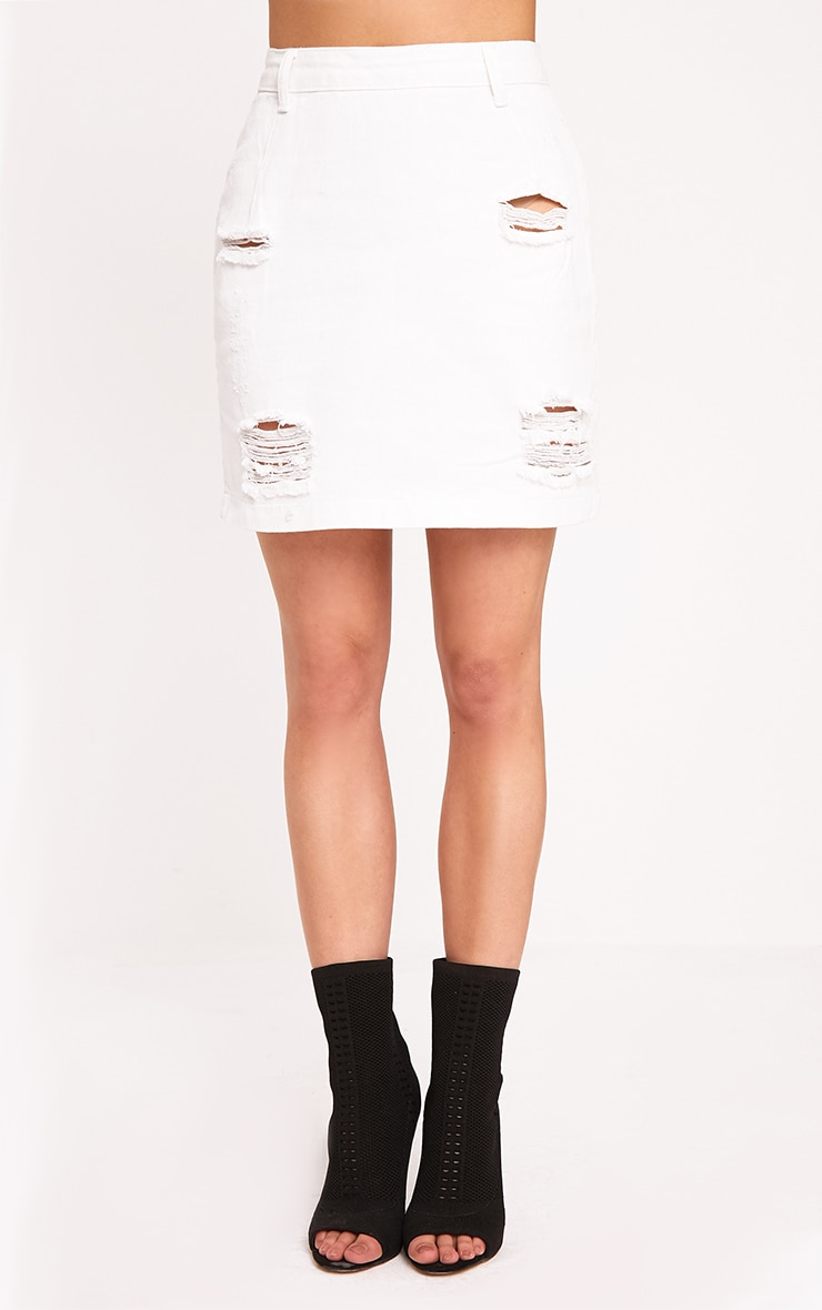 Roschian White Super Distress High Waisted Denim Mini Skirt  2