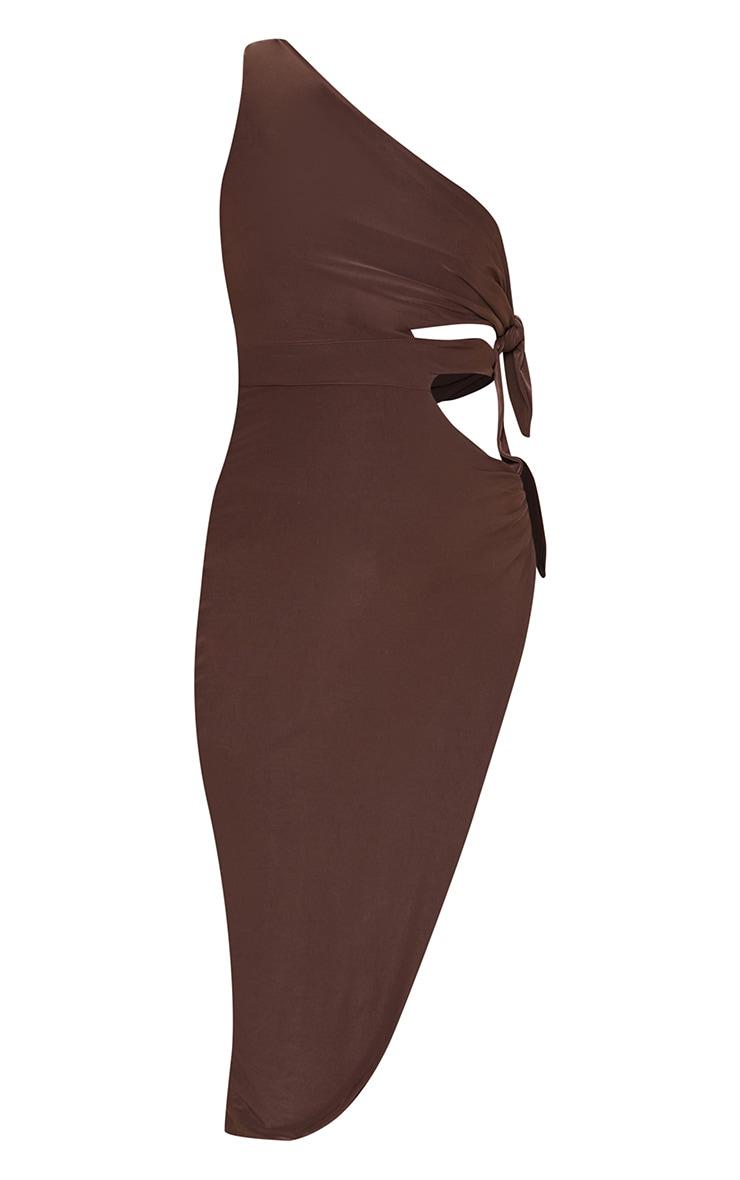 Chocolate One Shoulder Tie Side Midi Dress 5