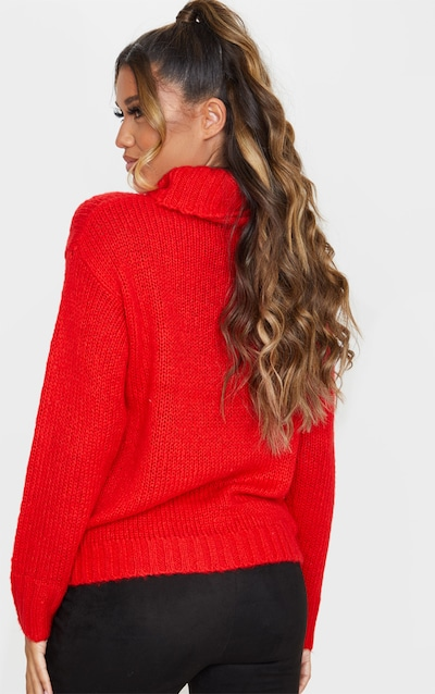 Red Roll Neck Chunky Knit Jumper