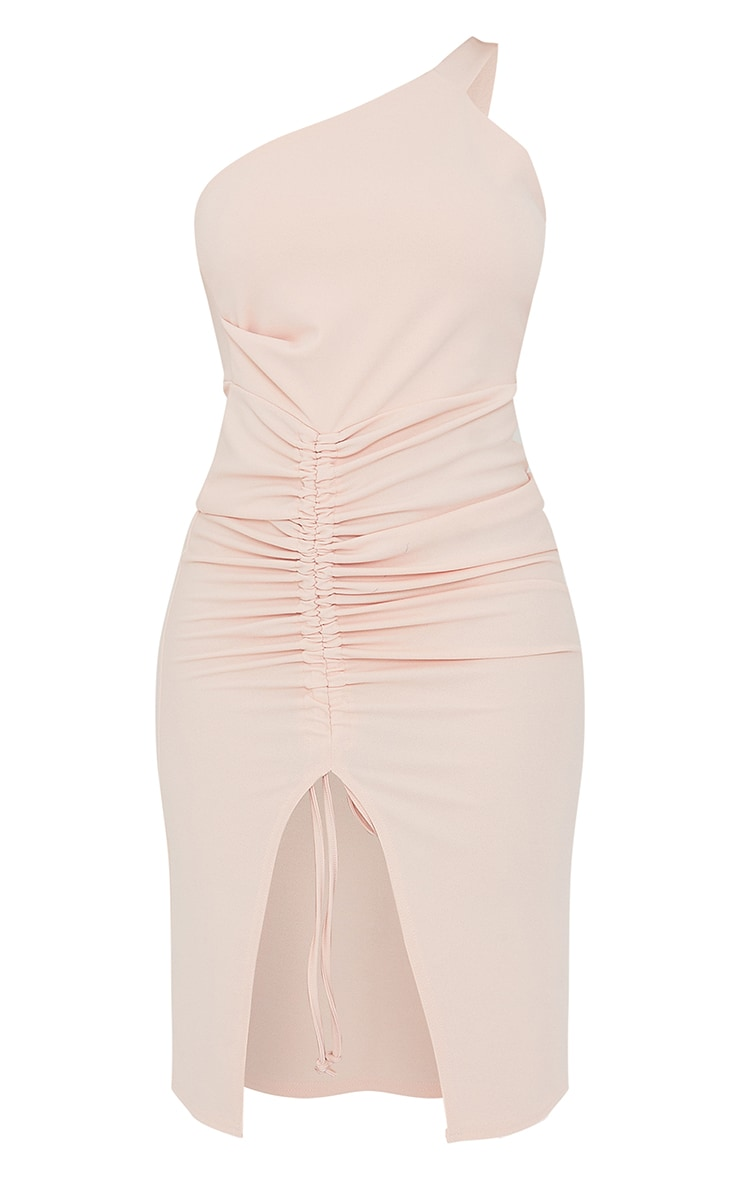 Peach Ruched One Shoulder Midi Dress 5