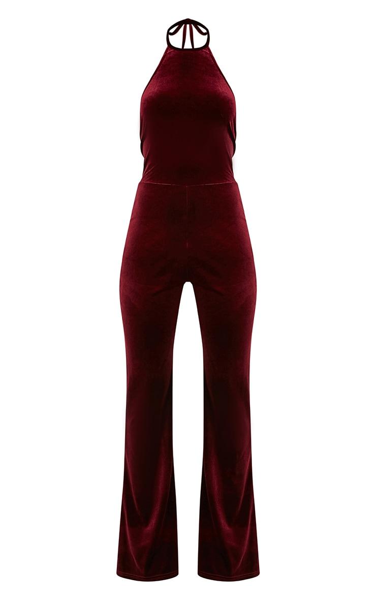 Erica Burgundy Velvet Open Back Wide Leg Jumpsuit 3