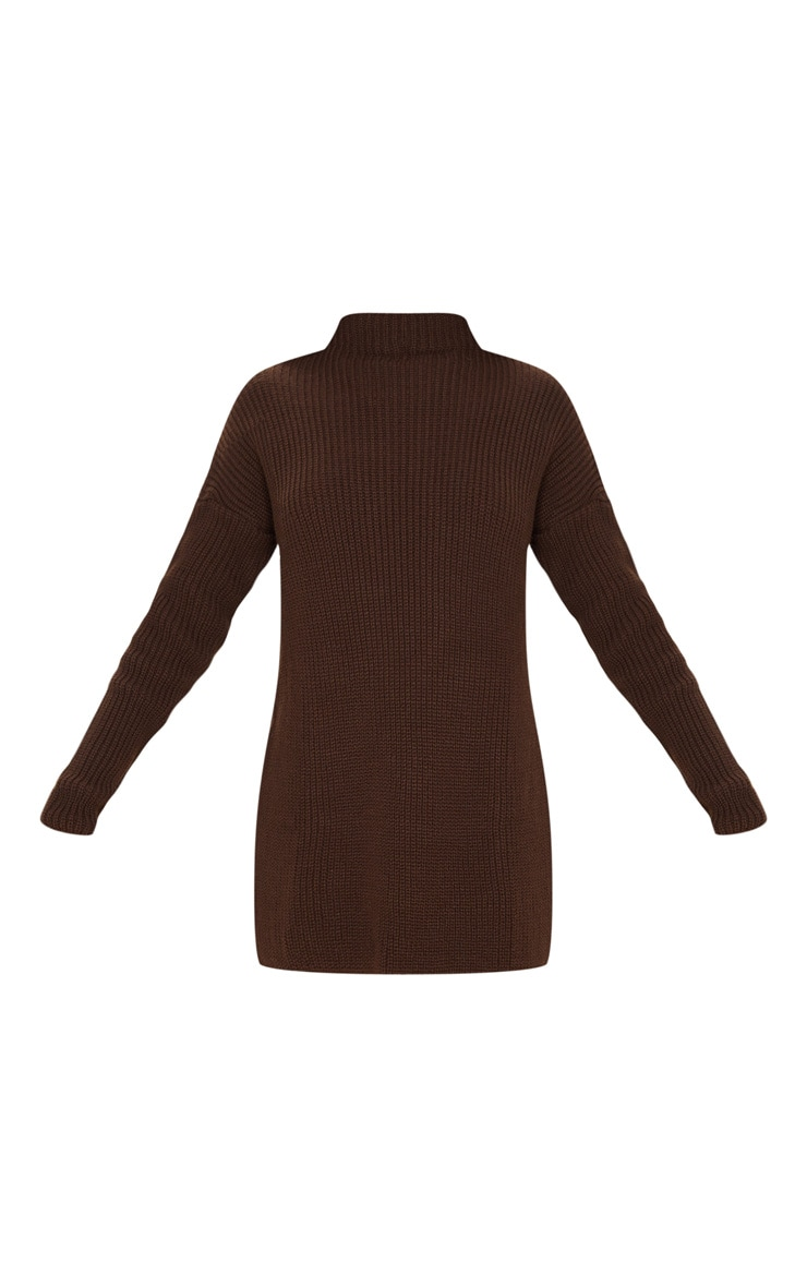Chocolate Brown High Neck Knitted Side Split Jumper 3