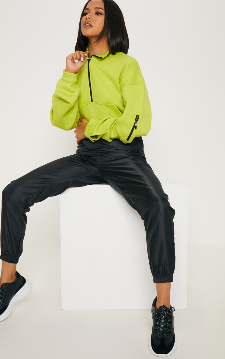 Sweat oversized vert citron à zip frontal 4