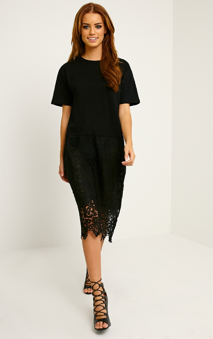 Maia Black Oversized Crochet T-Shirt Dress 4
