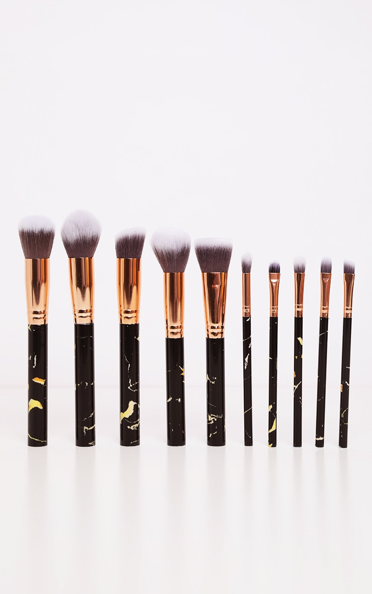 10 Piece Black Marble Effect Makeup Brush Set 3