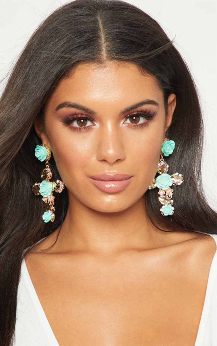Turquoise Rose Cross Earrings 2