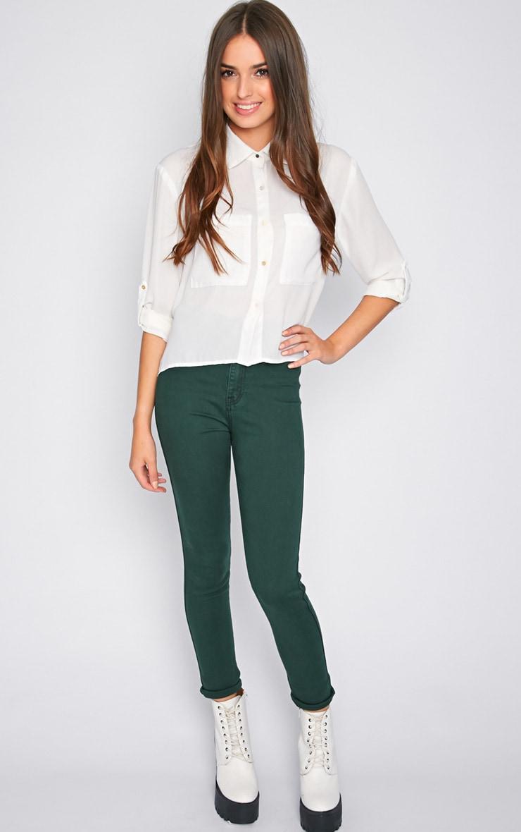 Dina Green High Waist Skinny Jean  3