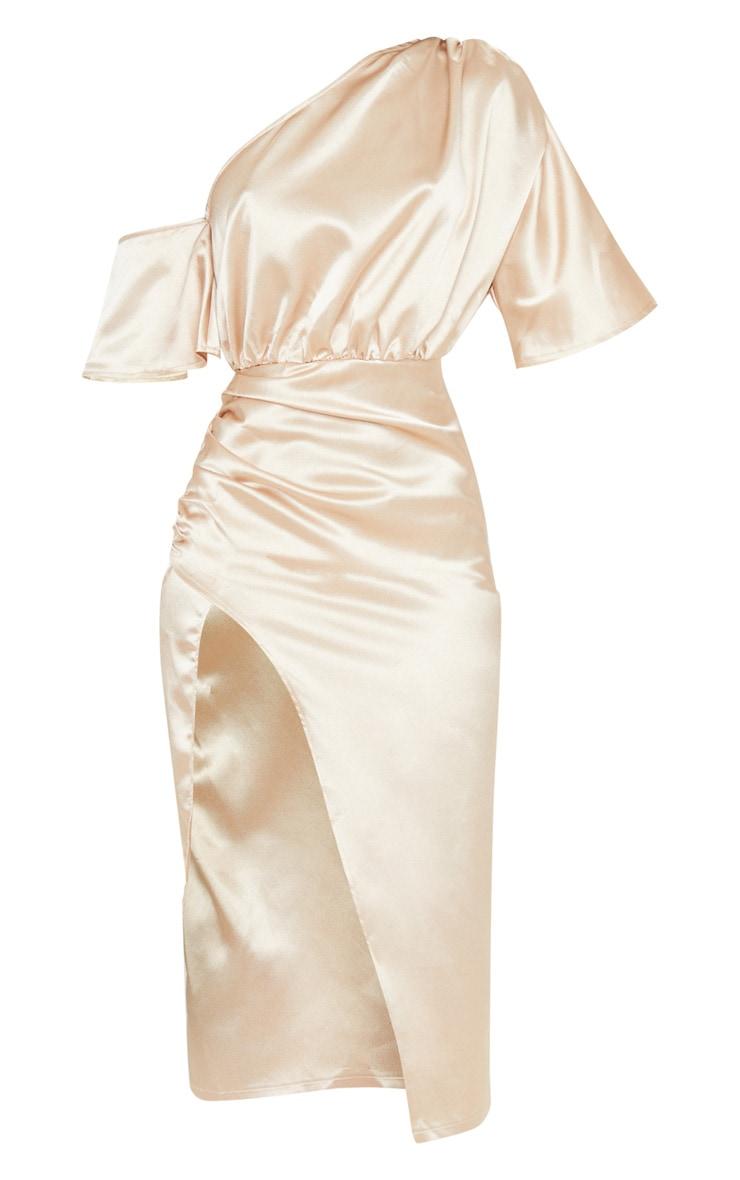 Champagne Satin One Shoulder Ruched Skirt Midi Dress 3