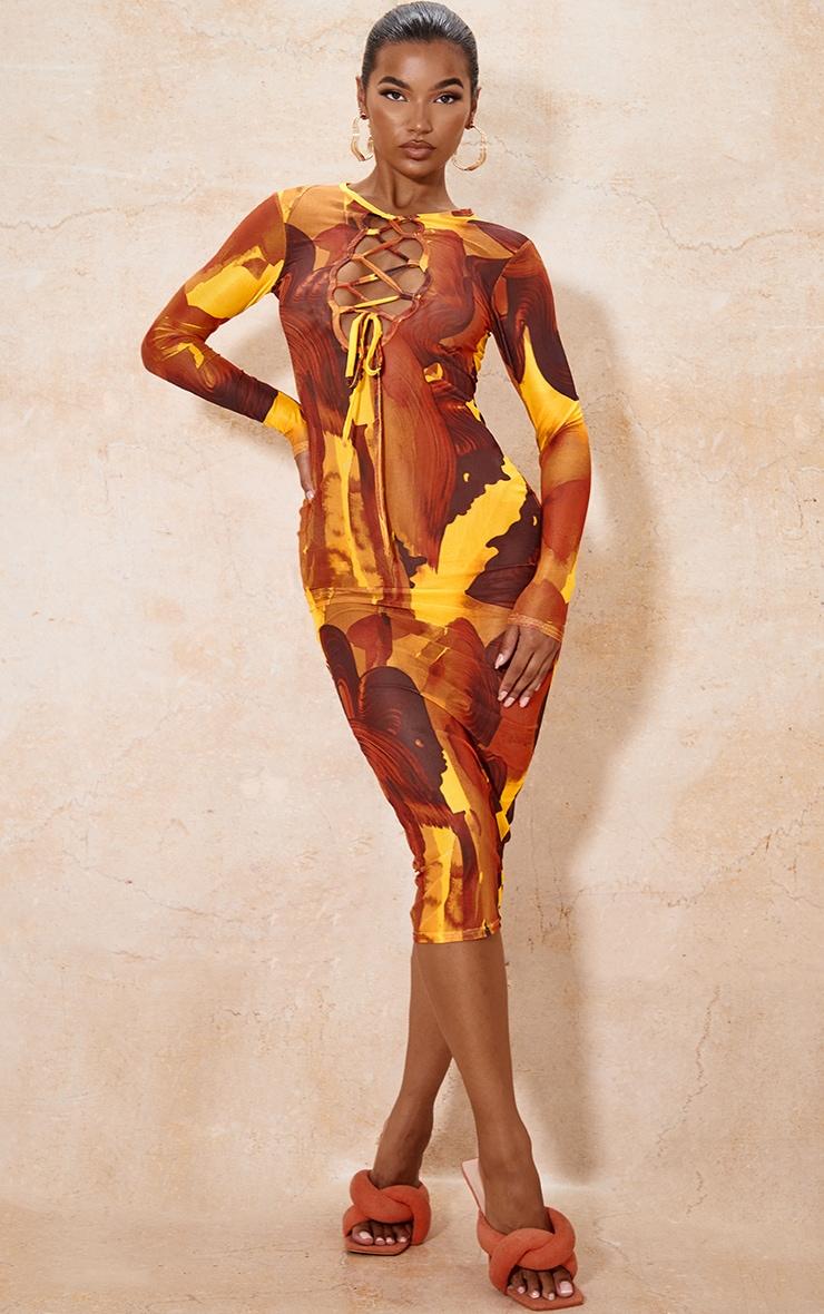 Multi Abstract Print Mesh Lace Up Detail Long Sleeve Midi Dress 1