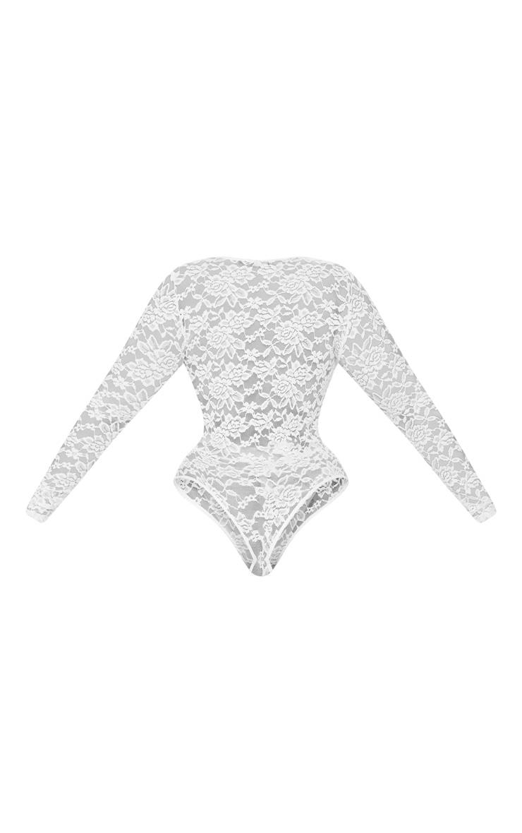 Plus White Sheer Lace Plunge Long Sleeve Bodysuit 4