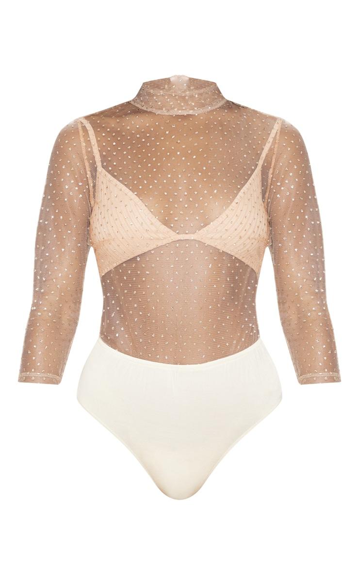 Gold Glitter Mesh Long Sleeve Bodysuit 3