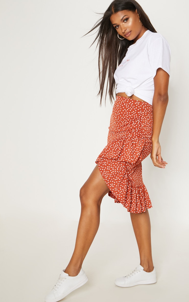 Spice Polka Dot Frill Midi Skirt 5