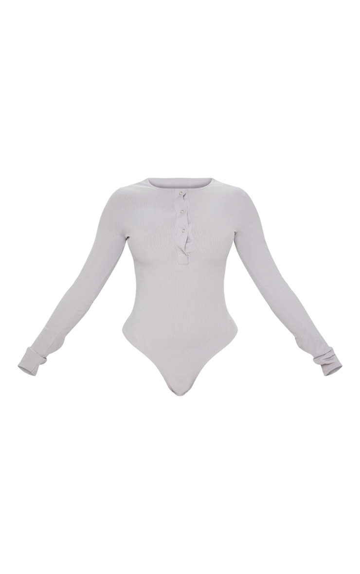 Grey Marl Long Sleeve Rib Popper Bodysuit 3
