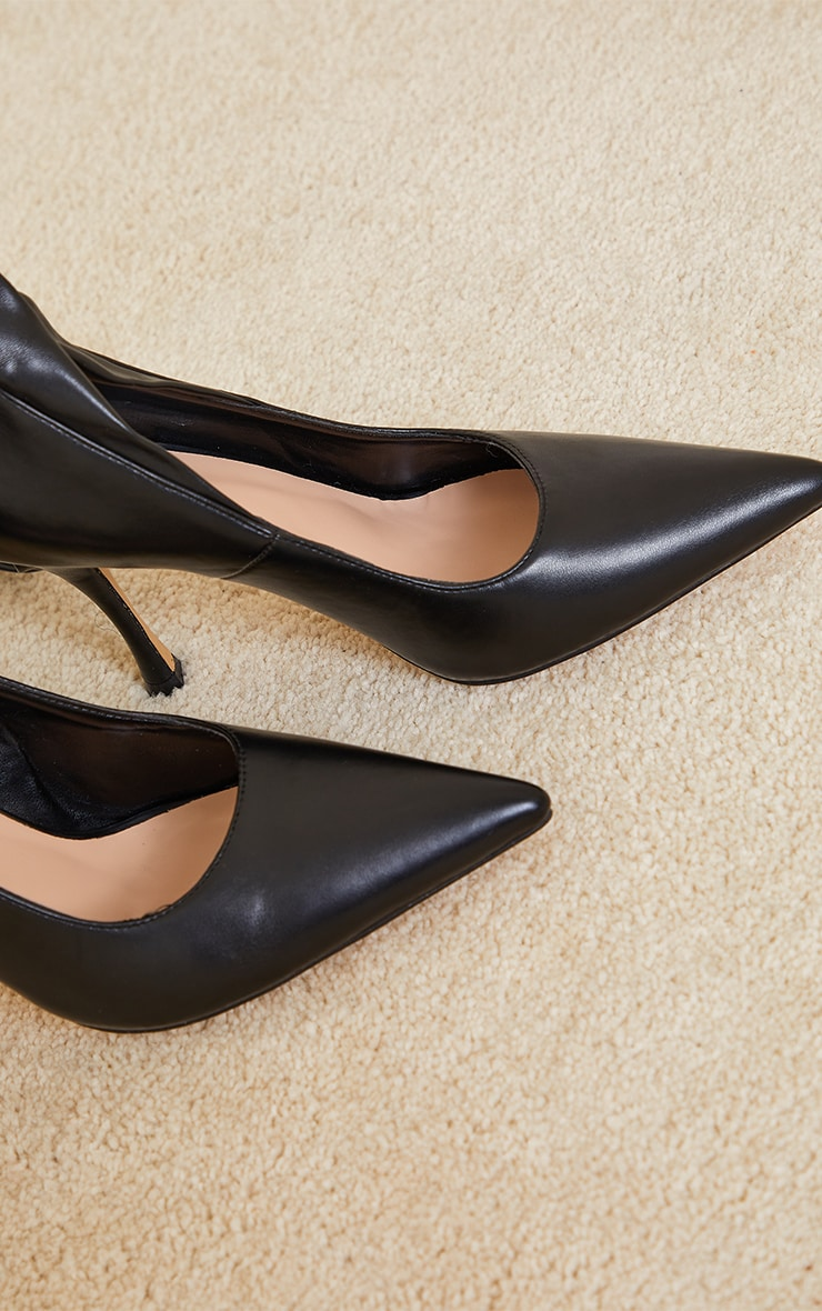 Black PU Ankle Tie Court Shoes 4