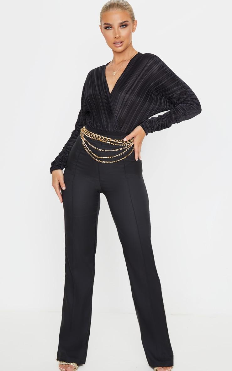 Black Plisse Deep Plunge Long Sleeve Bodysuit  3
