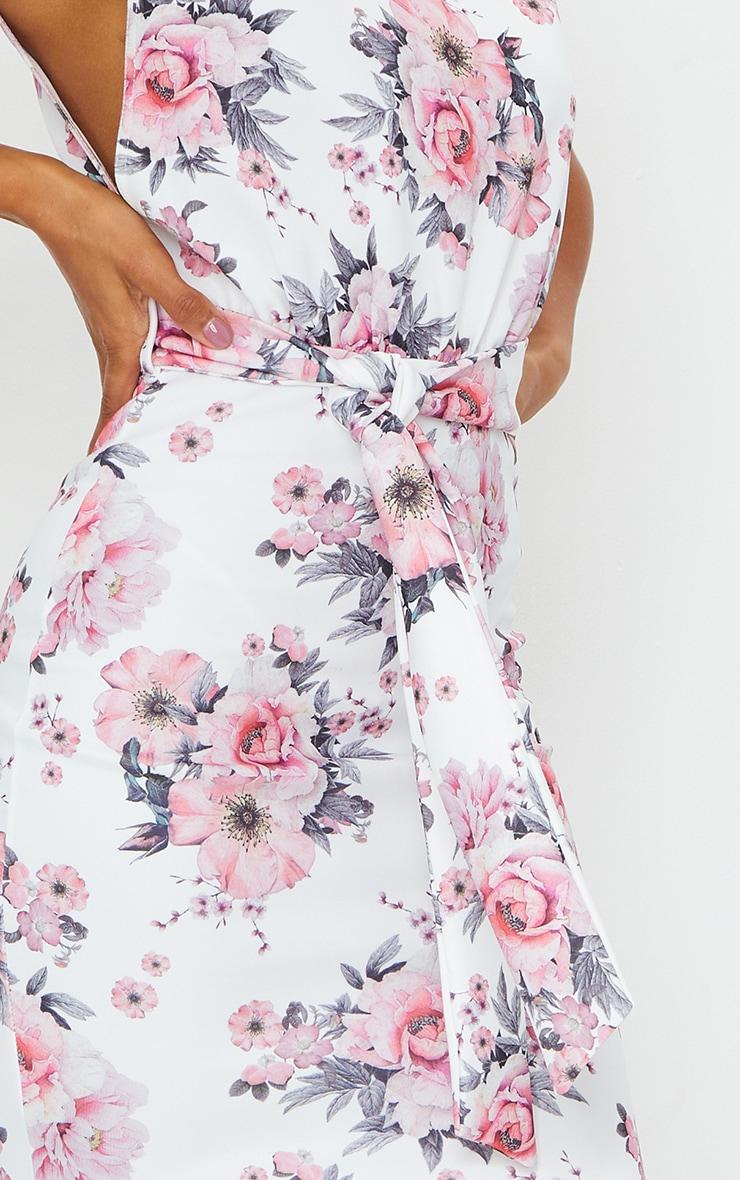 White Floral Print Tie Waist High Neck Midi Dress 4