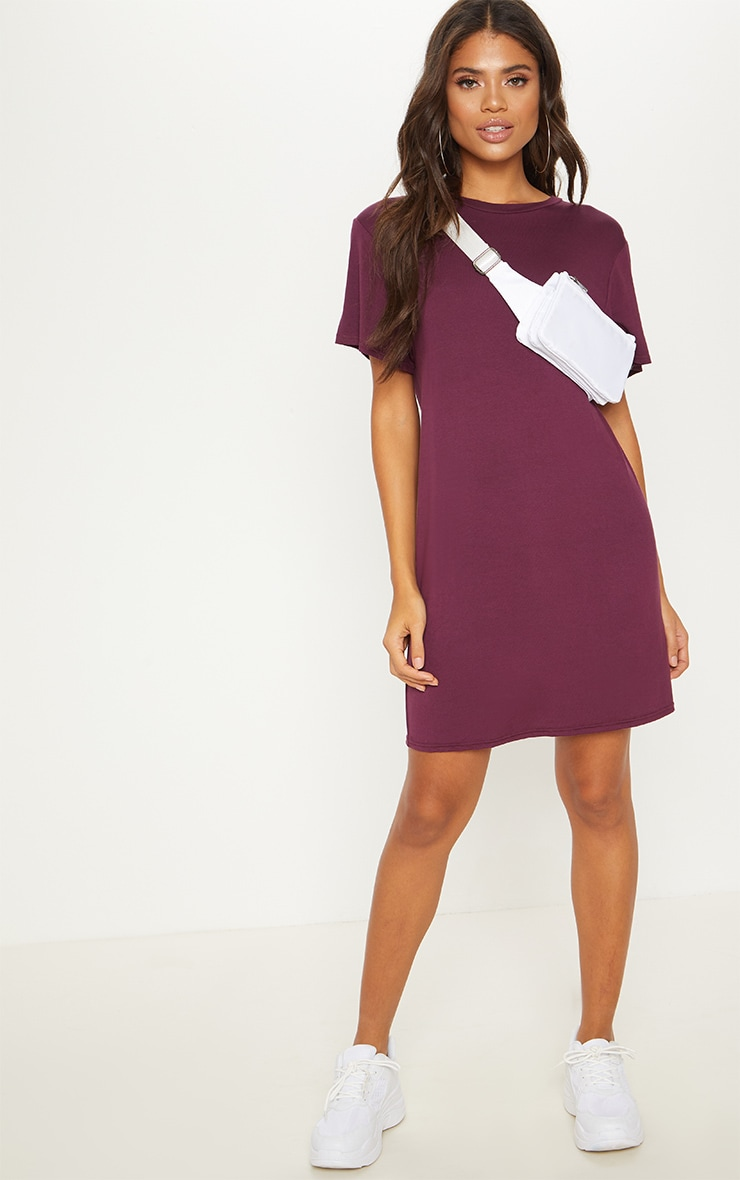 Basic Deep Burgundy Short Sleeve T Shirt Dress 1