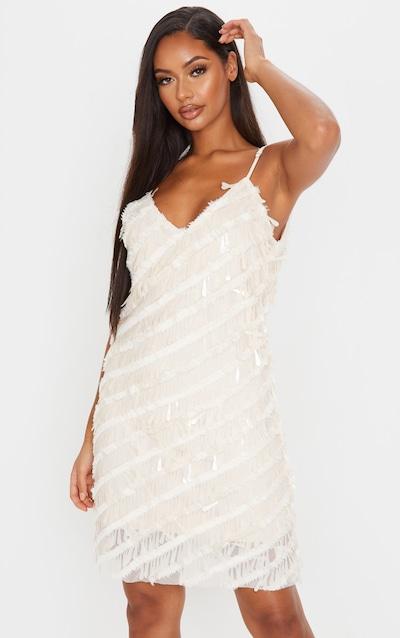 Nude Sequin Fluff Shift Dress