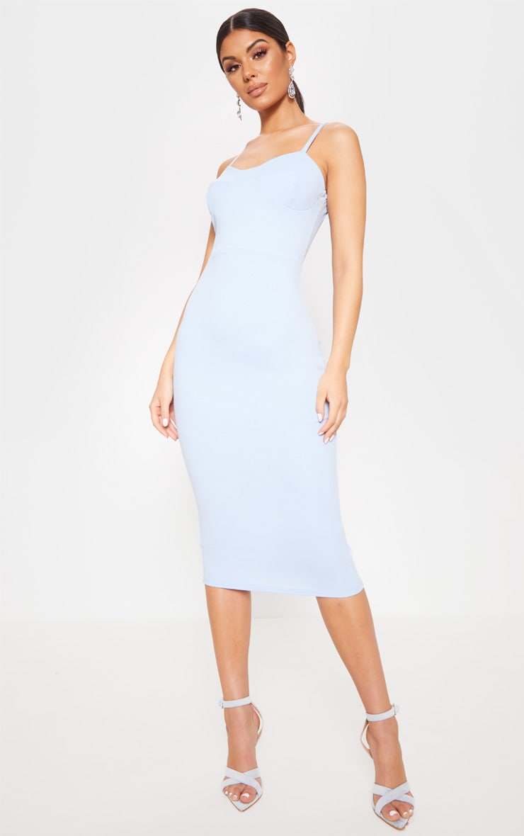 be362617df79 Baby Blue Strappy Corset Midi Dress image 1