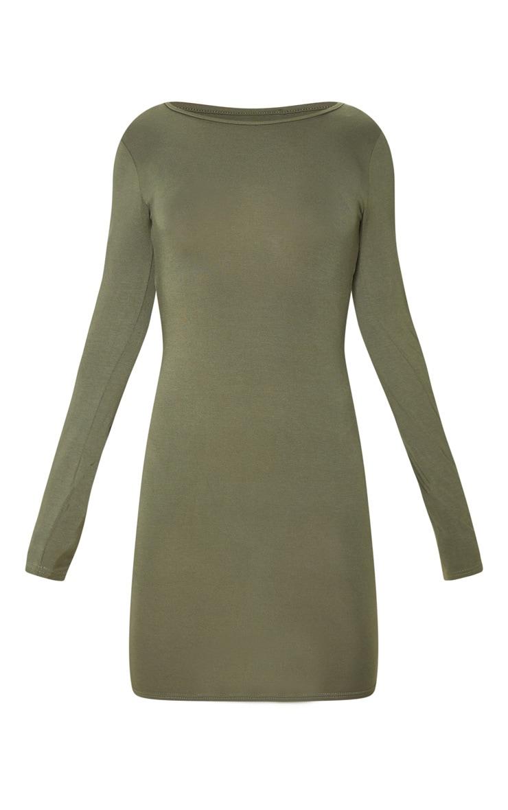 Khaki Jersey Long Sleeve Bodycon Dress 3