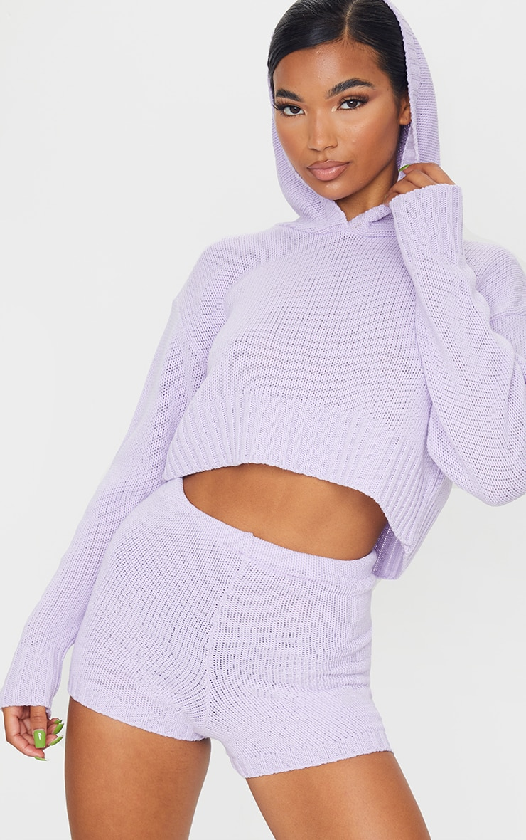 Lilac Deep Hem Knitted Hoodie And Short Set 1