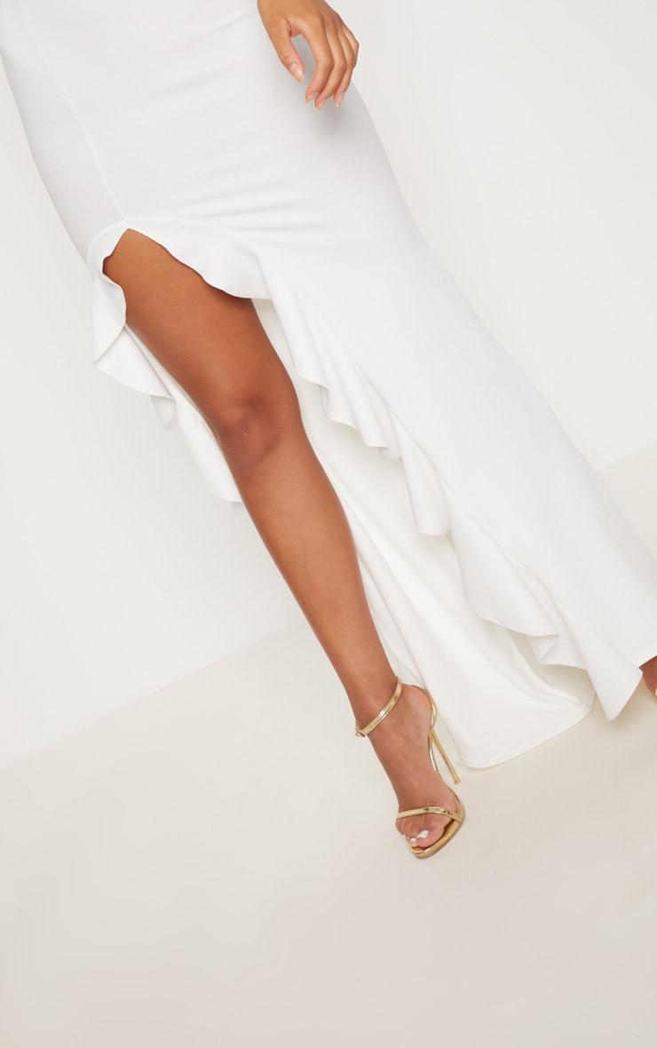 54d85ff4774b73 White One Shoulder Ruffle Hem Maxi Dress | PrettyLittleThing