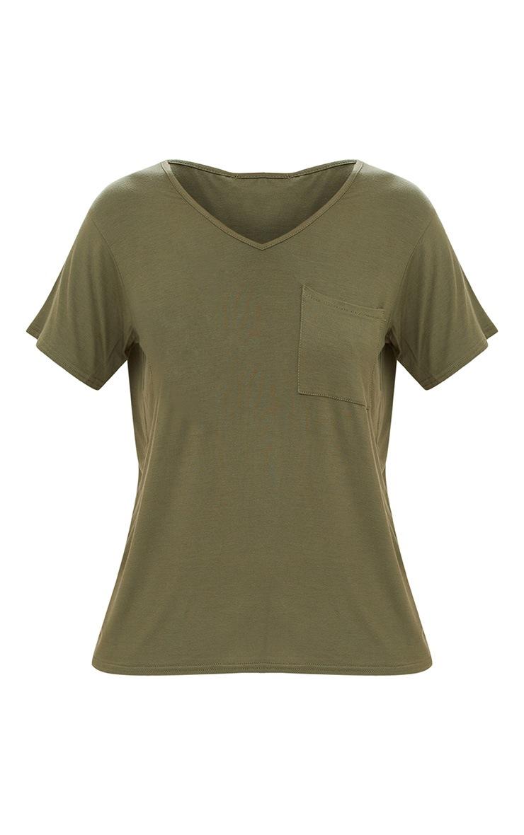Khaki Basic V Neck Pocket T Shirt 3