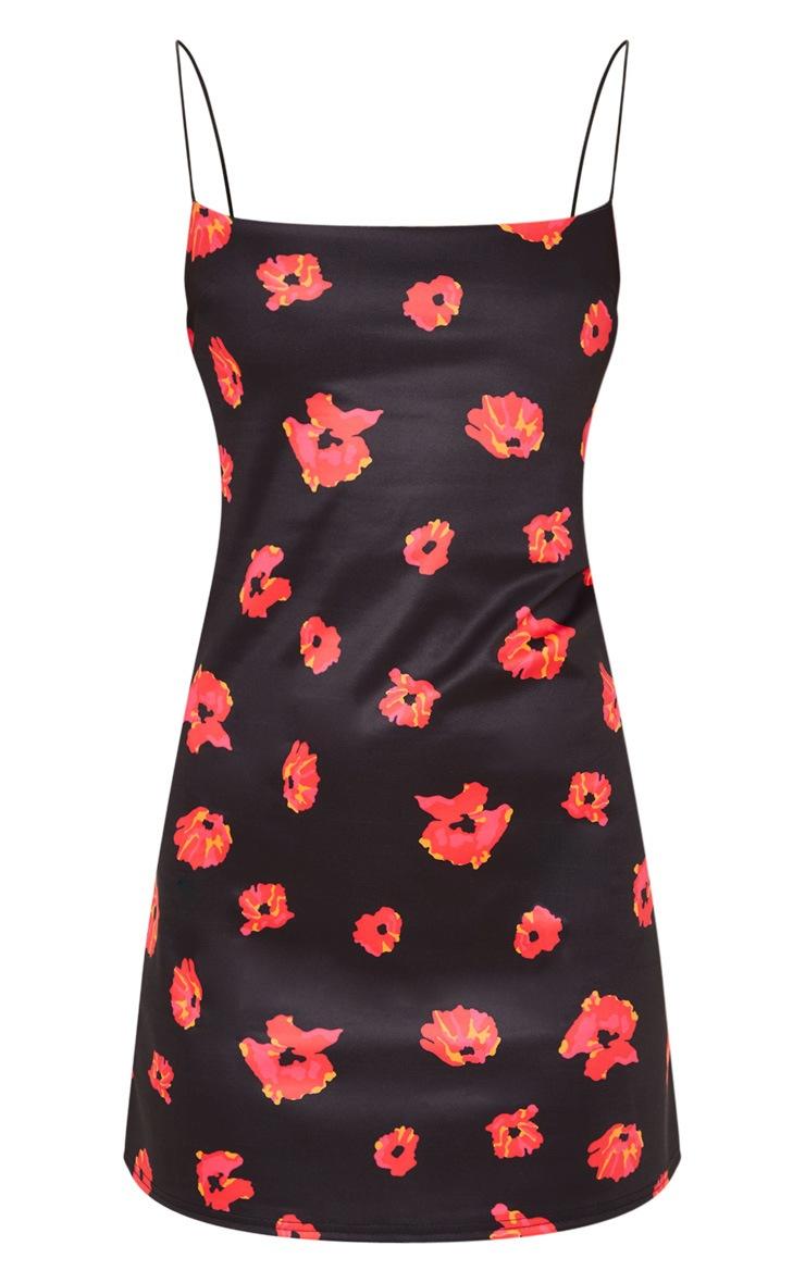 Black Floral Print Strappy Scuba Shift Dress 3