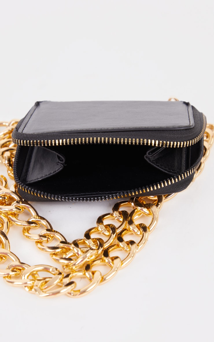 Black PU Gold Chunky Chain Mini Cross Body Bag 3