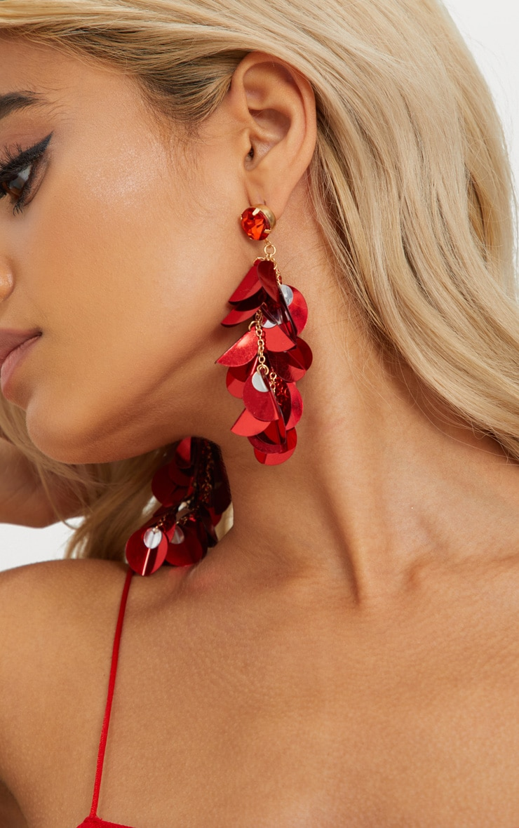 Red Sequin Tassel Earrings 2