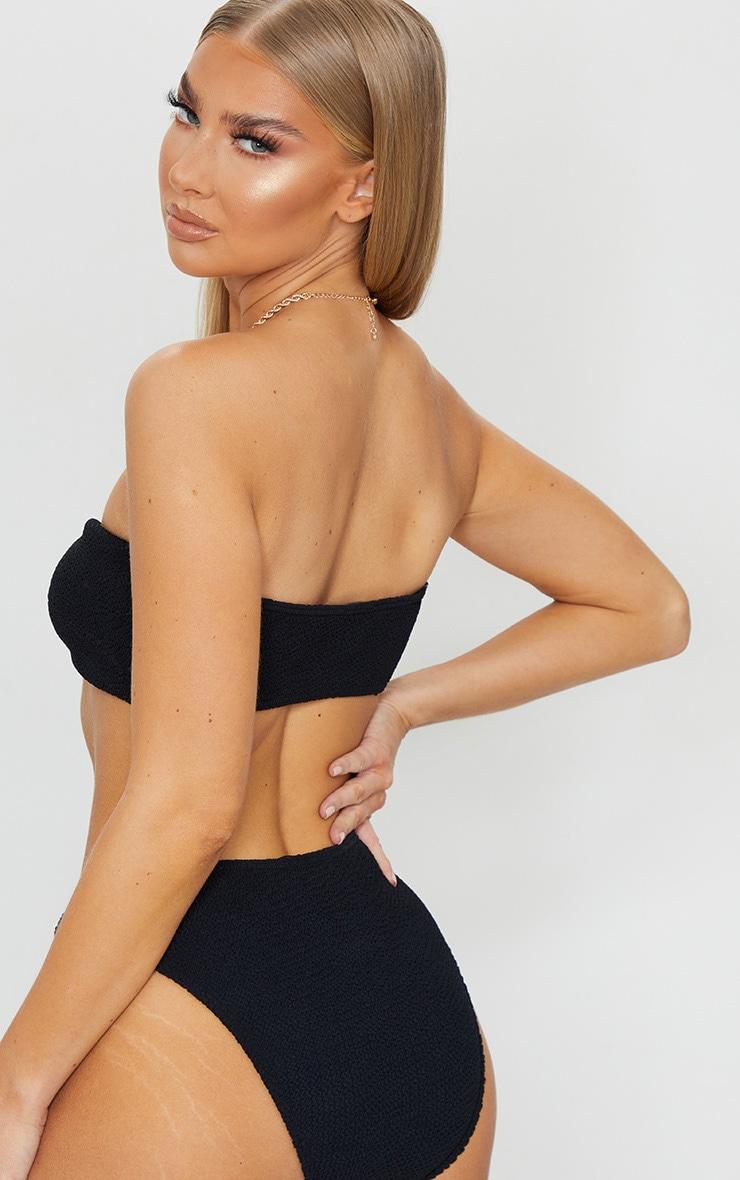 Black Ring Middle Crinkle Bikini Top 2